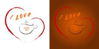 Eu amo o tempo do café - uma xícara de café no coração ilustração royalty free