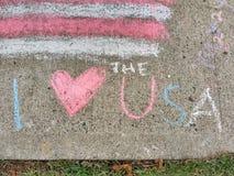 Eu amo os EUA, coração de I os EUA Fotografia de Stock Royalty Free