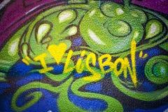 Eu amo a rua art. da mensagem de Lisboa. Fotos de Stock