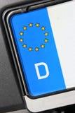 EU-amtliches Kennzeichen - D Stockfoto