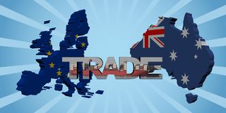 EU Australia map flags with trade text illustration. European Union and Australia map flags with trade text illustration Stock Images