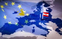 EU and Austria flag over an european union Map. Austria will hold the presidency of the Council of the EU for the period July-December 2018 stock images