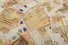 EU banknotes in 50 euro bills Royalty Free Stock Image