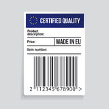 EU Barcode label  - Certified Quality. Sticker Stock Photos
