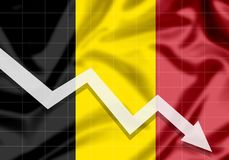 EU Belgium flag down arrow. The concept of failures and material losses in the country Stock Photos
