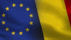 EU and Belgium Realistic Half Flags Together vector illustration