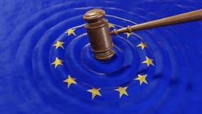 EU beurteilen den Hammer, der Europäische Gemeinschaft fein verurteilt Lizenzfreie Stockbilder
