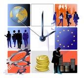 EU biz watch. Watch with 8 symbolic fields, people, globe, EU flag etc Royalty Free Stock Images