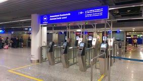 EU border. At Frankfurt airport stock photo