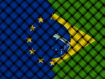 EU and Brazilian flags interwoven illustration. European Union flag and Brazilian flag interwoven in abstract 3d illustration Royalty Free Stock Photography