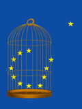 EU. Brexit, UK exit, vote to leave concept. Europe star escaping gided cage Royalty Free Stock Images