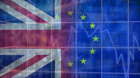 Eu and britain flag video. Eu and britain flag against animated blue background stock video