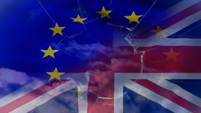 Eu and britain flag video. Eu and britain flag against broken glass and blue sky background stock video footage