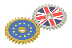 EU and Britain flags on a gears, 3D. Rendering Stock Photo