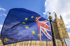 EU British flag outside Palace of Westminster, Houses of Parliament, London, UK royalty free stock photo