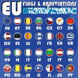 Eu buttons. European union flag buttons with internet abbreviations Stock Photos