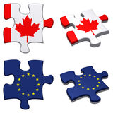 EU & Canada puzzle. 3d rendered EU and Canada puzzles isolated Stock Photo