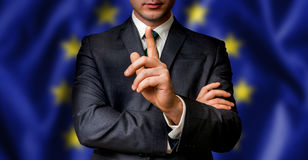 EU candidate speaks to the people crowd Stock Photos