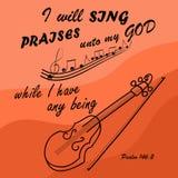 Eu cantarei ao deus quando eu for com o violino ilustração stock