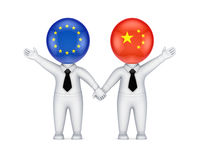EU-chinese parthnership concept. Isolated on white background.3d rendered Stock Photo