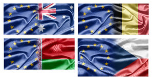 EU and Countries. The European Union and the countries of the world. Collection of flags Stock Image