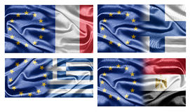 EU and Countries. The European Union and the countries of the world. Collection of flags Stock Photography
