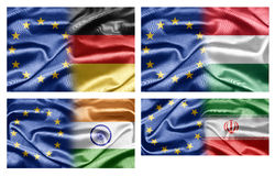 EU and Countries. The European Union and the countries of the world. Collection of flags Stock Photo