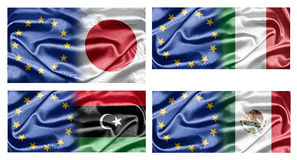 EU and Countries. The European Union and the countries of the world. Collection of flags Royalty Free Stock Images