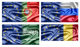 EU and Countries. The European Union and the countries of the world. Collection of flags Stock Images