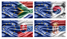 EU and Countries. The European Union and the countries of the world. Collection of flags Stock Photos
