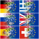 Eu countries flags with euro banknotes and eu flag Stock Images