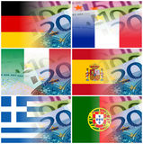 Eu countries flags with euro banknotes Stock Photography