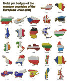 EU countries metal pin badges. Metal pin badges in the shape of flag maps of all the member countries of the european union Stock Photos
