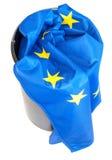EU crisis. Flag of European Union in Scrap Basket royalty free stock photo