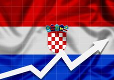EU Croatia flag with up arrow. Concept of success and progress in the country Stock Photography