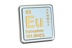 Eu dell'europio, segno dell'elemento chimico rappresentazione 3d Immagini Stock