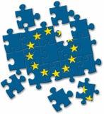 EU der Europäischen Gemeinschaft kennzeichnen Puzzlespiel auf dem weißen Hintergrund Stockbilder