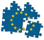 EU der Europäischen Gemeinschaft kennzeichnen Puzzlespiel auf dem weißen Hintergrund Stockbild