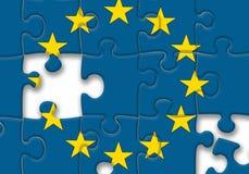 EU der Europäischen Gemeinschaft kennzeichnen Puzzlespiel auf dem weißen Hintergrund Lizenzfreies Stockbild
