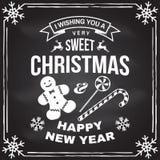 Eu desejo-lhe um selo do Natal muito doce e do ano novo feliz, etiqueta ajustada com flocos de neve, doces do Natal, cookie Vetor ilustração stock