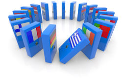 Eu domino effect. Dominoes with the flags of the eurozone countries Stock Photo