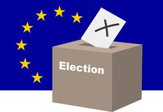 EU election concept. Voting at the ballot box with  the european flag in the background. Illustration. Vector available royalty free illustration