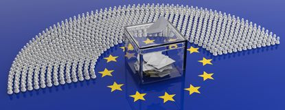 European parliament members as pawns and a voting box on EU flag, 3d illustration. EU elections, chess game. European parliament members as pawns and a voting royalty free illustration