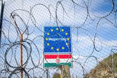 EU Entrance roadsign blocked by the Border fence between Rastina Serbia and Bacsszentgyorgy Hungary