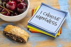 Eu escolho a afirmação do positivo da felicidade fotografia de stock