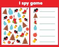 Eu espio o jogo para crianças Objetos do achado e da contagem Contando a atividade educacional das crianças Tema dos feriados do  ilustração royalty free