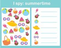Eu espio o jogo para crianças Objetos do achado e da contagem Contando a atividade educacional das crianças Tema do verão ilustração do vetor