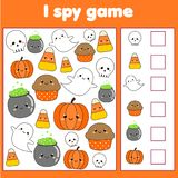 Eu espio o jogo para crianças Objetos do achado e da contagem Contando a atividade educacional das crianças Um Web de aranha gran ilustração royalty free
