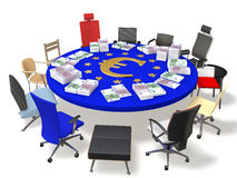 The EU and the euro. Colored chairs around the table with the symbol of the euro and banknotes Royalty Free Stock Photography