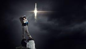 Eu explorarei o espaço Meios mistos Fotografia de Stock Royalty Free